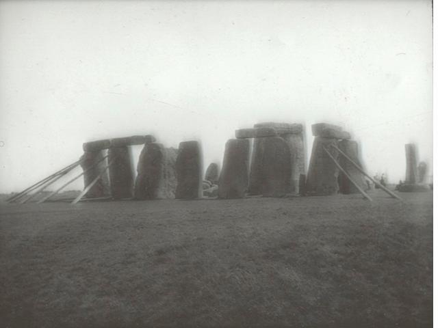 STONEHENGE - LONG (WILLIAM) Stonehenge and its Barrows, 1876; with 13 lantern slides of Stonehenge (small quantity)