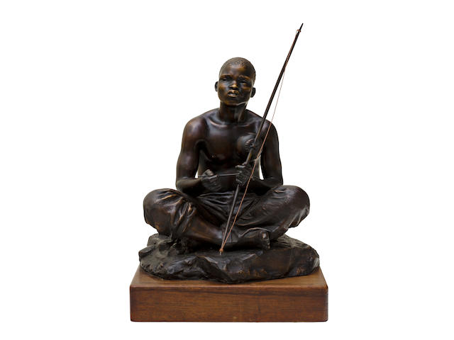 Anton van Wouw (South African, 1862-1945) 'The Skapu Player' 31 cm (12 3/16 in) high (excluding base)