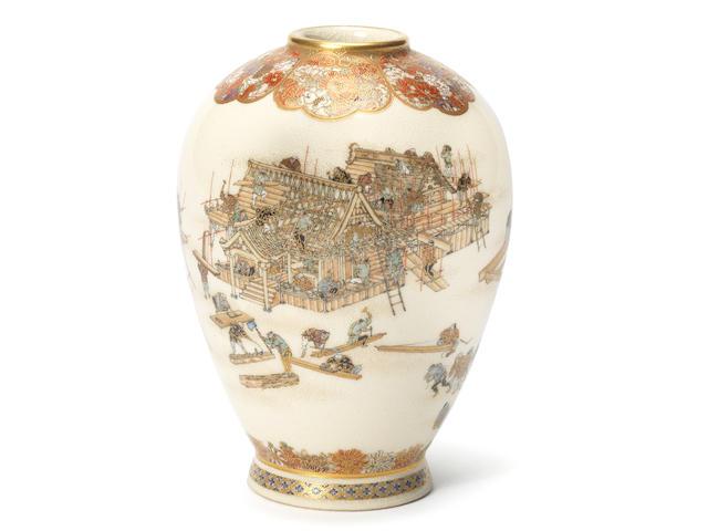 A Satsuma ovoid vase By Yabu Meizan, Meiji Period