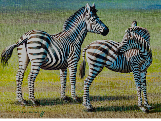 Vladimir Griegorovich Tretchikoff (South African, 1913-2006) Zebra and foal