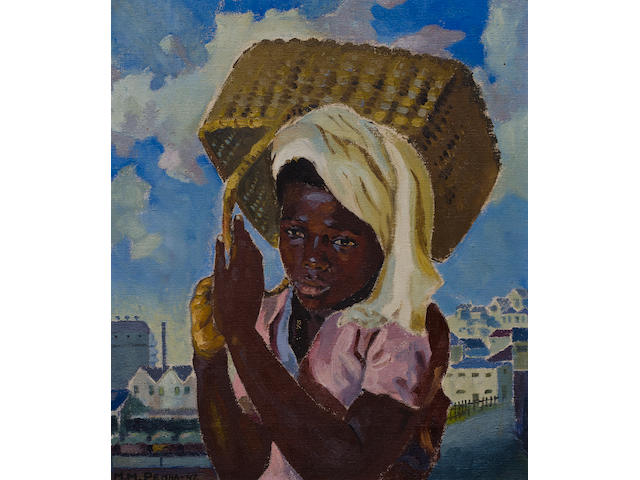 George Mnyalaza Milwa Pemba (South African, 1912-2001) Girl with wicker basket, Port Elizabeth
