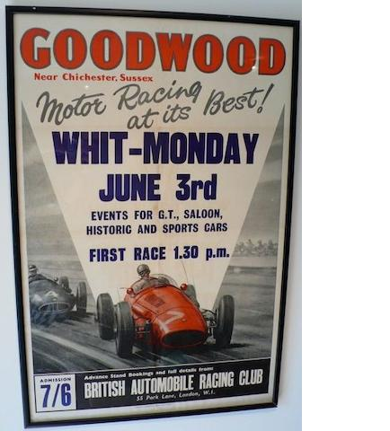 A Goodwood 'Motor Racing at its Best' race meeting poster for Whit-Monday June 3rd,