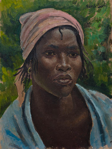 Alfred Neville Lewis (South African, 1895-1972) Portrait of a young African lady wearing a blue shawl