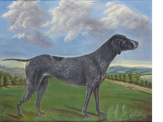 English Naïve School An Early English Setter in a landscape