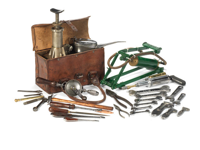 A vintage Bentley toolkit and toolbag,