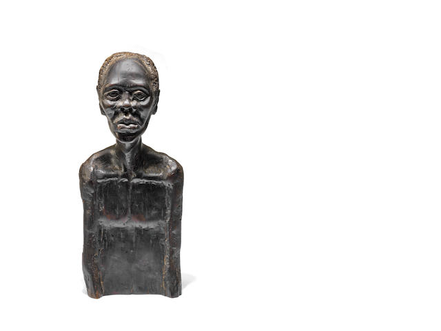 Lucas Tandokwazi Sithole (South African, 1931-1994) Carved bust of man 35 x 20 x 13cm (13 3/4 x 7 7/8 x 5 1/8in).