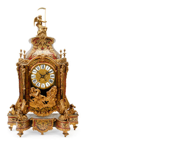 An impressive late 19th century French gilt bronze mounted scarlet tortoiseshell and brass inlaid 'Boulle' style bracket clockin the Régence style