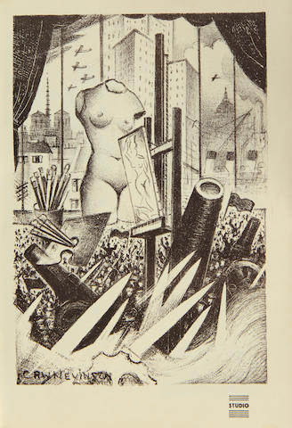 Christopher Richard Wynne Nevinson A.R.A. (British, 1889-1946) Spirit of Progress Lithograph, 1933, on wove, as published in The Studio no. 481, vol. CV, together with two other lithographs by Frank Brangwyn and Laura Knight, 289 x 207mm (11 3/4 x 8 1/8in)(vol)