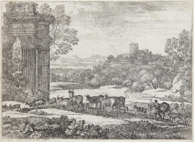 Claude Lorrain (French, 1600-1682) The Herd Returning in Stormy Weather Etching, 1651, on laid, trimmed just inside the platemark, 165 x 220mm (6 1/2 x 8 3/4in)(SH)