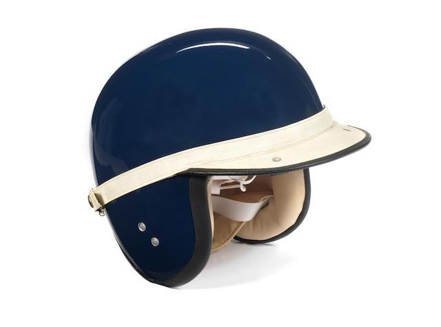 A replica of Jim Clark's 1963 'Everoak' Racemaster helmet,