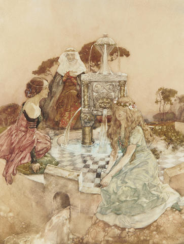 Sir William Russell Flint R.A., P.R.W.S. (British, 1880-1969) The Fountain of Joyous Adventure