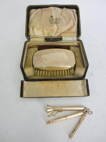 A Victorian 9ct gold hairbrush and comb set by William Neale, Birmingham 1851  (5)