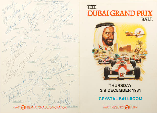Three signed items relating to Fangio, 'Birmingham on the Streets 1980' and 'The Dubai Classic Grand Prix 1981',