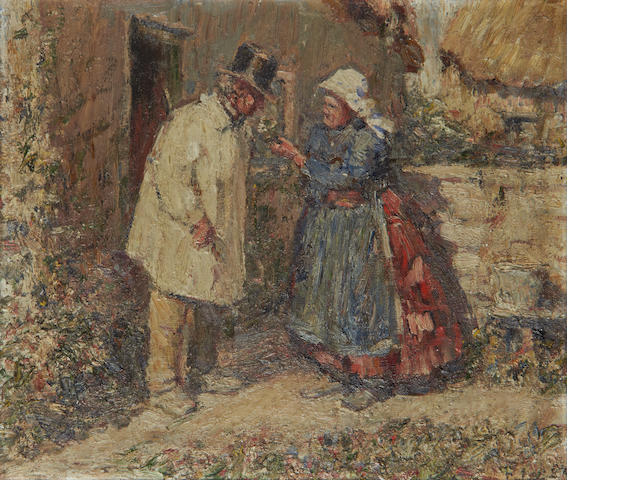"Harry Fidler (British, 1856-1935) ""Ginger Beer Sold Here!""; ""His Favourite Flowers"", a pair each 27 x 31cm (10 5/8 x 12 3/16in)."