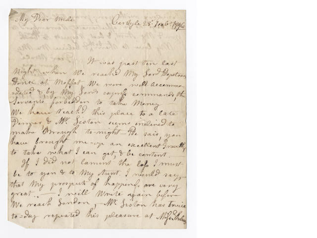 LISTON (HENRIETTA) Twenty-three autograph letters signed, to her step-uncle and adoptive father James Jackson, the postmaster of Glasgow, written before and after her husband's embassy to the United States of America and during her husband's service in the Netherlands, 1796-1802