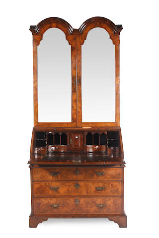 An 18th century and later walnut bureau bookcase