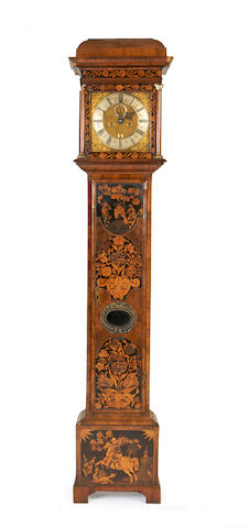 A marquetry longcase clock and associated movement signed Benjamin Wright, London