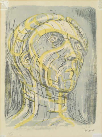 Henry Moore O.M., C.H. (British, 1898-1986) Head of Prometheus Lithograph printed in colours, 1956, on wove, signed and numbered 10/20 in pencil, with margins, 305 x 220mm (12 x 8 3/4in)(I)