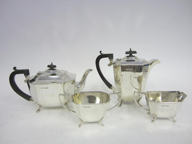 A silver four piece tea and coffee service by H Fisher & Co, Sheffield 1945  (4)