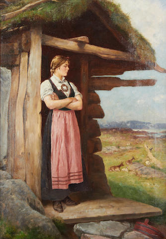 Axel Ender (Norwegian, 1853-1920) At the cottage door