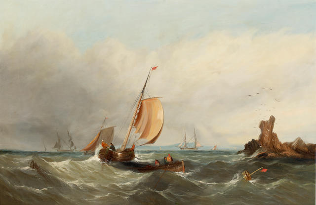 English School, Mid/Late 19th Century Fishing boats in choppy waters, shipping beyond