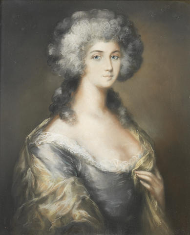 Follower of John Russell (Guildford 1745-1806 Hull) Portrait of a lady, half-length, in a grey silk dress