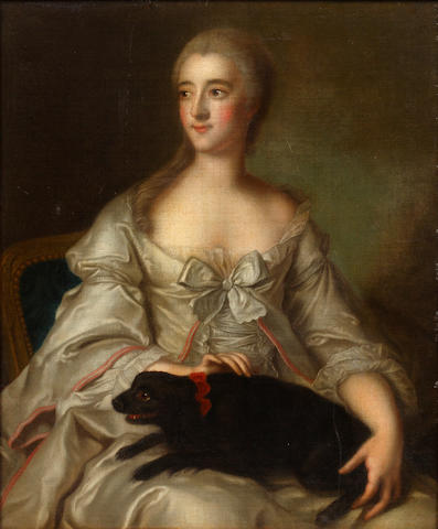French School (late 18th Century) Portrait of a young woman seated with her dog upon her lap