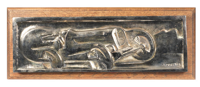 A Racing Car bronze plaque, by J Martel, French, 1920s,