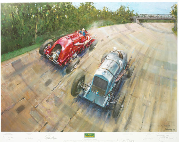 'The Spirit of Brooklands', a multiple signed print after Terence Cuneo,