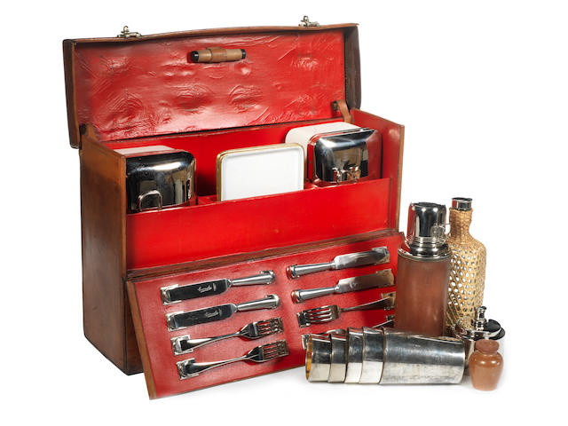 An Edwardian leather cased drinks and sandwich set for four persons, by G W Scott & Sons, circa 1911,