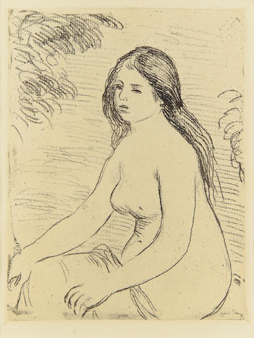 Pierre-Auguste Renoir (French, 1841-1919) Femme Nue Assise Soft-ground etching, c. 1906, on laid, from the edition published in 'Kunst and Kunstler', Jarhgang VII, 1909, with margins, 185 x 140mm (7 1/4 x 5 1/2in)(PL)