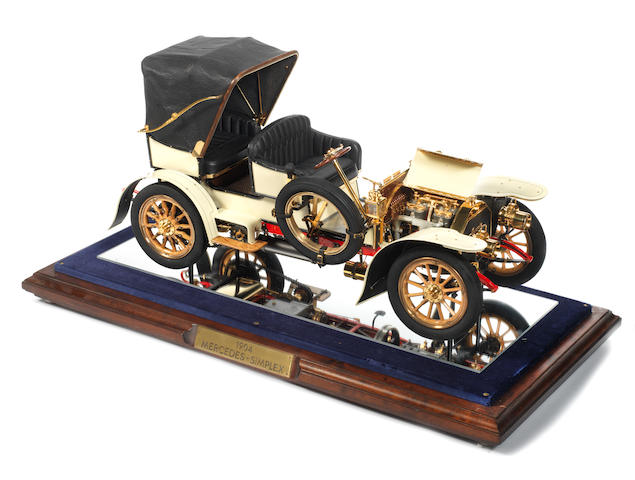 An extremely fine and detailed 1:8 scale scratch-built working model of a 1904 Mercedes Simplex Tourer, by Dr Hubert Hadethauer, 1993,