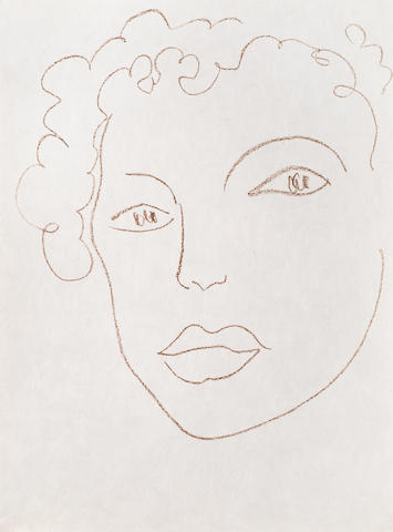 Henri Matisse (French, 1869-1954) Tete de Femme from Poesies Antillaises Lithograph, 1972, on Japan, from the supplementary suite of twelve prints which accompanied the deluxe book edition of 50 (there was also an edition of 200), published by Fernand Mourlot, Paris, the full sheet, 381 x 280mm (15 x 11in)(SH)