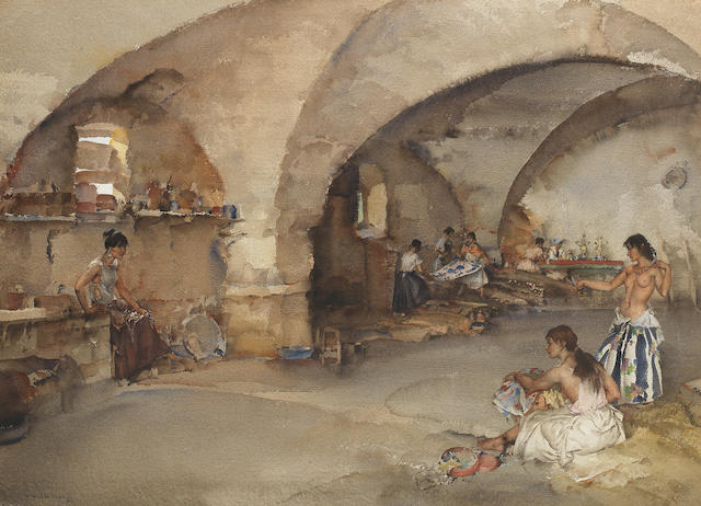 Sir William Russell Flint, RA, PRWS (British, 1880-1969) Treasure vault