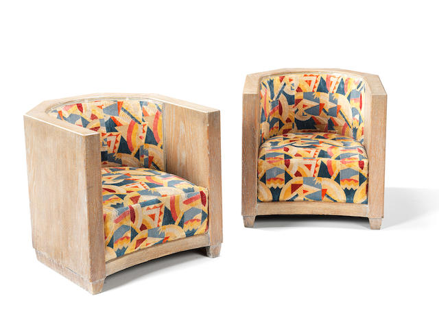 French A Pair of Art Deco Lounge Chairs, circa 1930