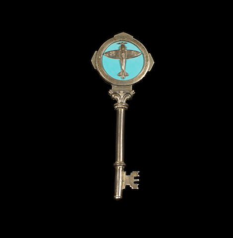 A sterling silver ceremonial key presented to Douglas Bader, 1957,