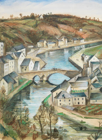 Christopher Richard Wynne Nevinson A.R.A. (British, 1889-1946) Dinan from the Viaduct 35 x 24.6 cm. (13 1/2 x 9 5/8 in.)