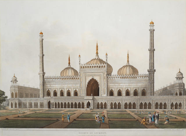 SALT (HENRY) Mosque at Lucknow; A View at Lucknow, 2 fine hand-coloured aquatint views, 1809 (2)