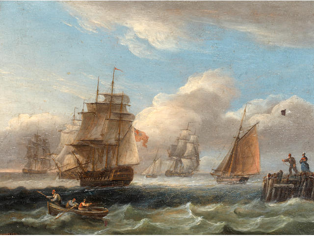 Thomas Luny (St Ewe 1759-1837 Teignmouth) Royal Naval warship and other shipping off the coast in rough seas; and A Warship in a calm (a pair)