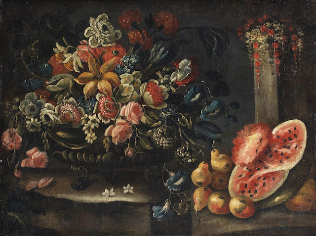 Neapolitan School, 17th Century Roses, hydrangeas, peonies and other flowers in a metal wine cooler,