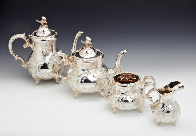 A silver four piece tea and coffee service by Roberts & Belk, Sheffield 1980  (4)