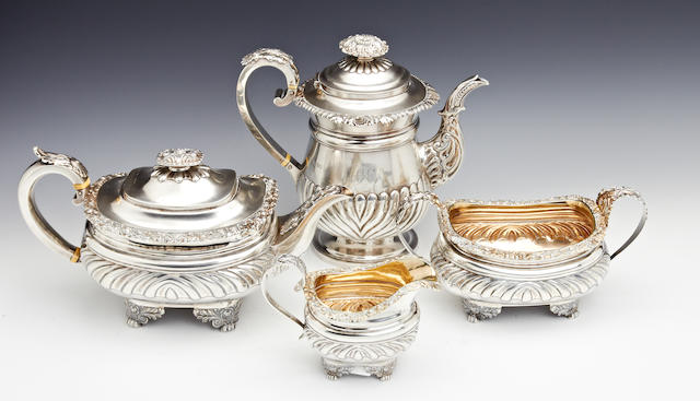 A George IV  silver matched four piece tea and coffee service by John Wakefield London 1820-3  (4)