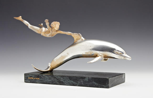 "David Wynne; A limited edition sculpture entitled ""Boy with Dolphin"" by Mappin & Webb, London 1980"