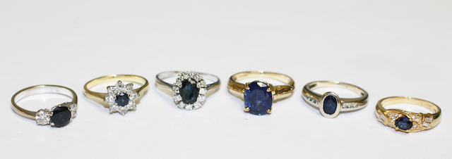 A collection of six sapphire and diamond set rings, (6)