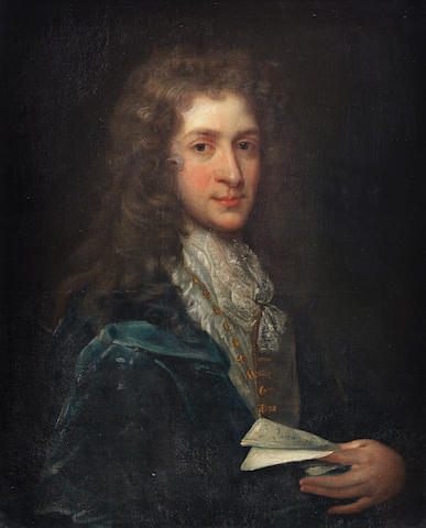 English School, 18th Century Portrait of a gentleman, said to be Field Marshal Arnold Joost van Keppel, 1st Earl of Albemarle, KG., bust-length, in a blue coat, holding a letter