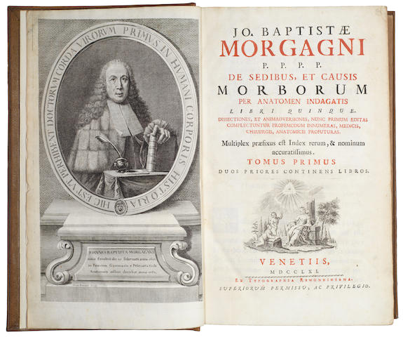 MORGAGNI (GIOVANNI BATTISTA) De sedibus, et causis morborum per anatomen indagatis, 2 vol. in 1, 1761; Opuscula, 1763, 2 works in one vol