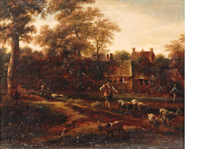 Dutch School, (18th Century) A shepherd and his flock and goats before cottages