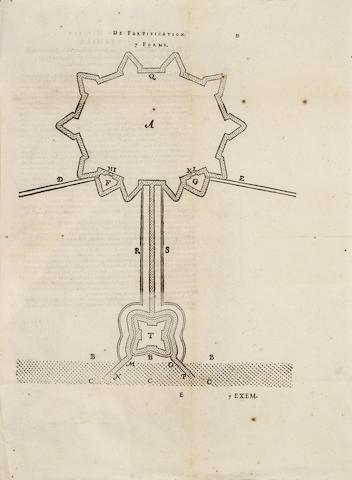 STEVIN (SIMON) La Castramentation... seconde edition reveue & corrigé; Nouvelle maniere de fortification par escluses, 2 parts in one vol., 1618