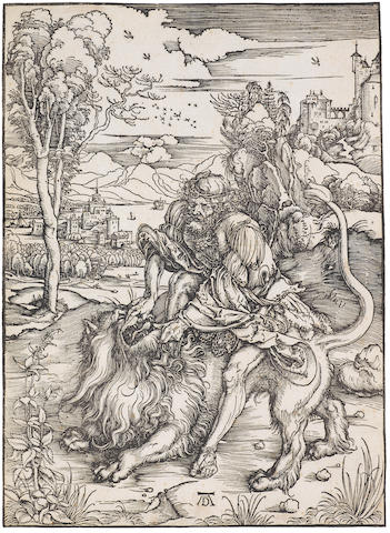 Albrecht Dürer (German, 1471-1528) Samson fighting with the Lion Woodcut, c.1496, a meder f impression, with the gap in the centre of the upper border and the Trimount with a cross watermark, on laid, trimmed to the platemark, 382 x 280mm (15 x 11in)(PL) unframed