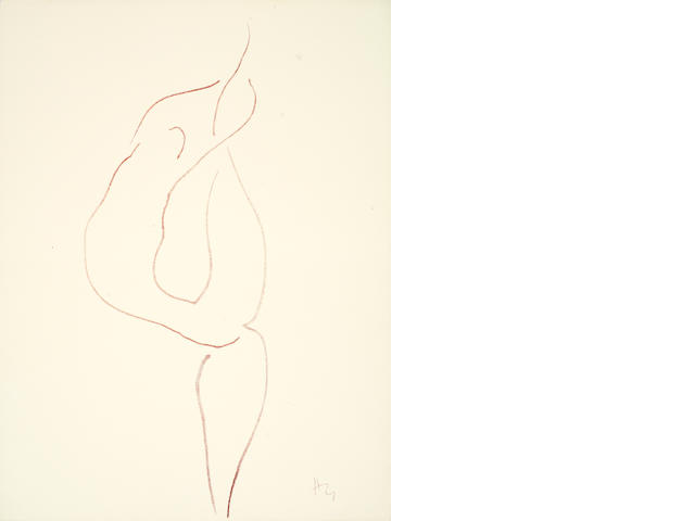 Henri Matisse (French, 1869-1954) One plate from 'Danseuses Acrobates' Lithograph printed in sanguine, 1931-32, on Arches, one of four épreuves d'essai on Arches printed in sanguine aside from the stamped numbered edition of 25 in black and white, the full sheet, 505 x 380mm (19 7/8 x 15in)(SH)(unframed)